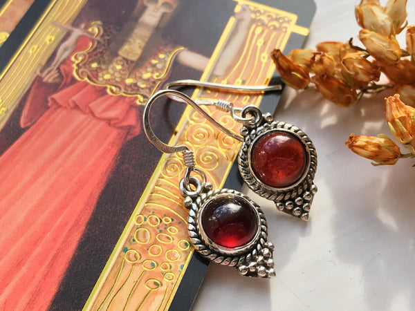 Garnet Cassia Dot Earrings - Jewels & Gems