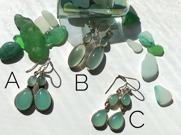 Chalcedony Earrings Double Stone - Jewels & Gems