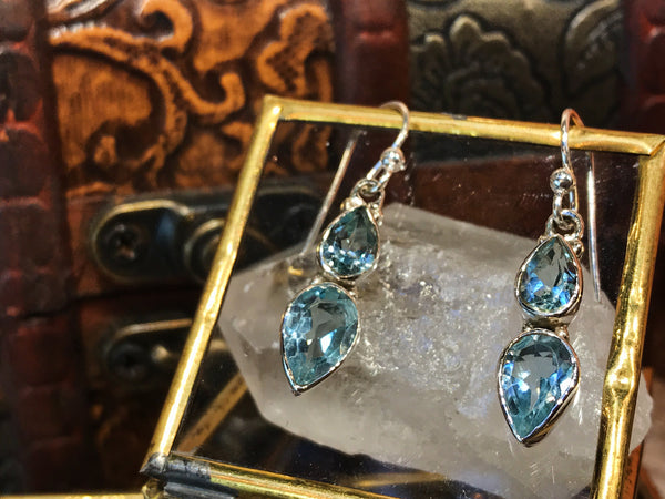 Blue Topaz Akoni Earrings - Double - Jewels & Gems
