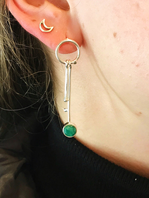 Semi-precious Emerald Selene Earrings - Jewels & Gems