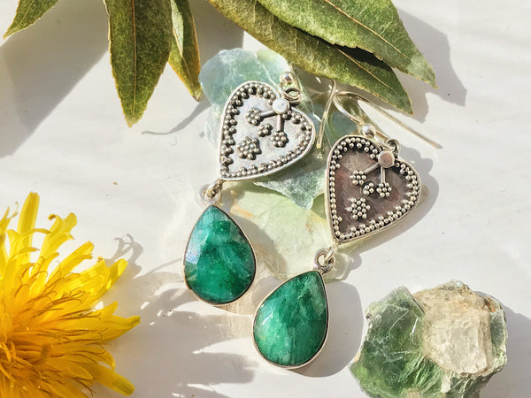 Semi-precious Emerald Heart Earrings - Jewels & Gems