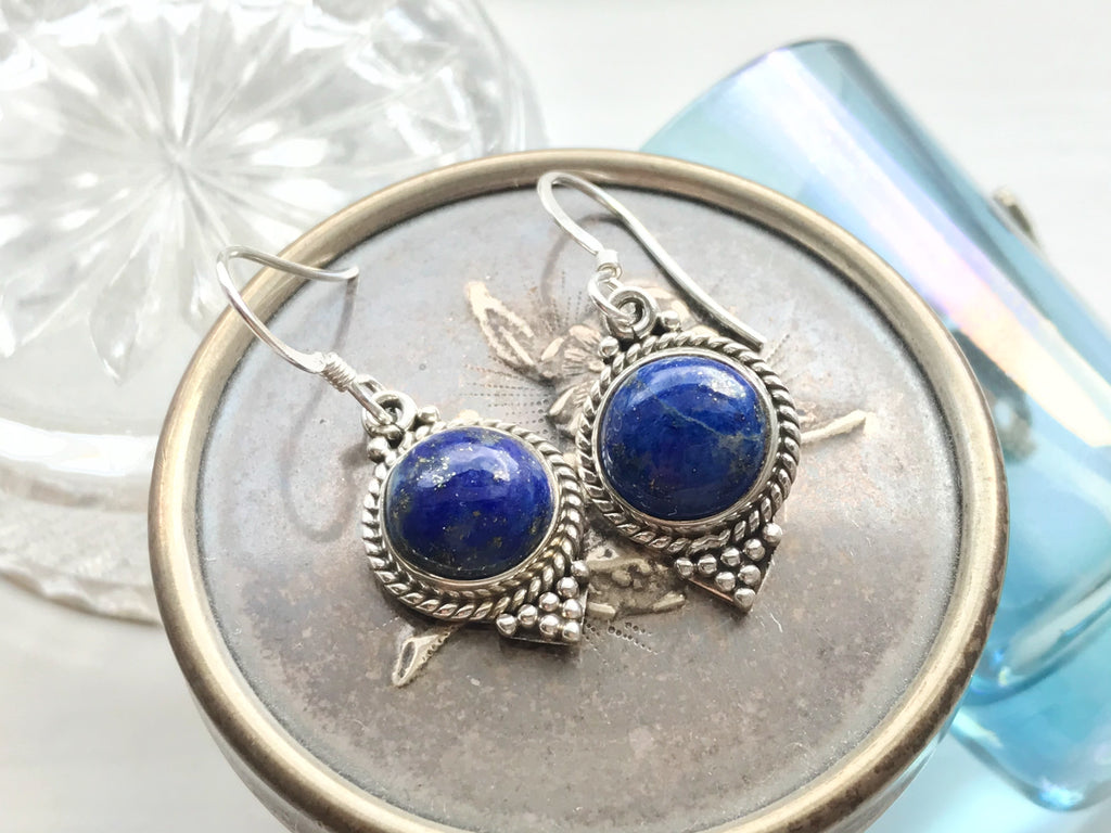 Lapis Lazuli Cassia Dot Earrings - Jewels & Gems