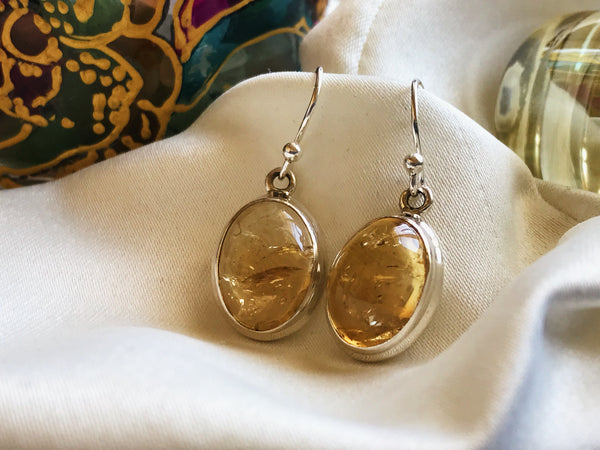 Citrine Ari Earrings - Cabochon Oval - Jewels & Gems