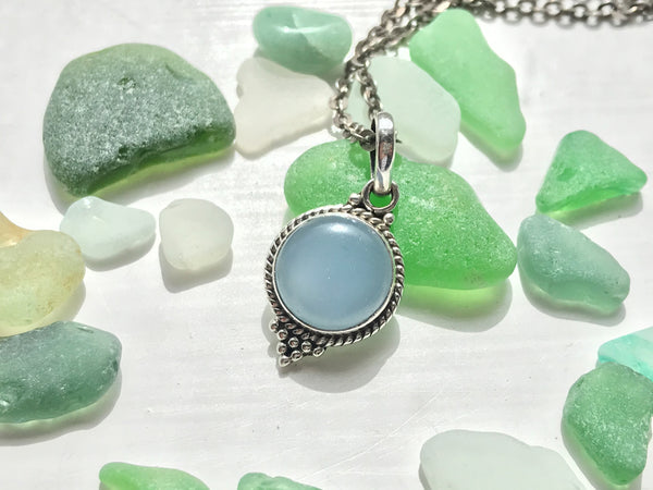 Blue Chalcedony Cassia Dot Pendant - Jewels & Gems