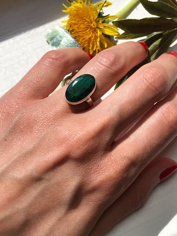 Semi-precious Emerald Ari Ring Long Oval - Jewels & Gems