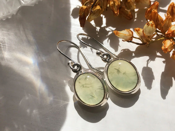 Prehnite Ari Earrings - Oval - Jewels & Gems