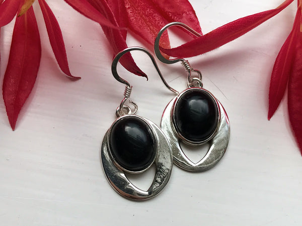 sterling silver onyx earrings