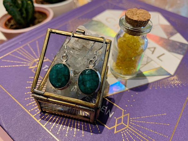 Semi-precious Emerald Ari Earrings - Jewels & Gems