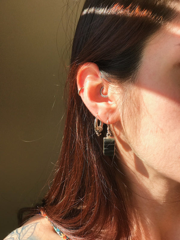 Black Tourmaline Akoni Earrings Rectangular/ Asymmetric - Jewels & Gems
