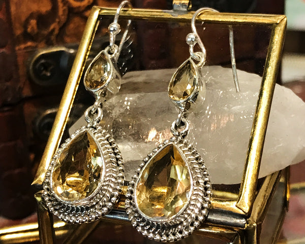 Citrine Xenia Earrings Double Drop - Teardrop / Oval - Jewels & Gems