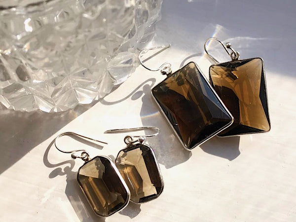 Smoky Quartz Adora Earrings Rectangular Medium and Large - Jewels & Gems