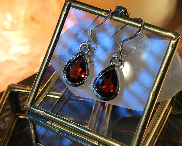 Garnet Ari Earrings Tear Drop - Jewels & Gems