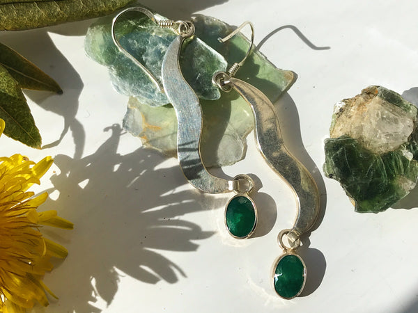 Silver Semi-precious Emerald Abstract Earrings - Jewels & Gems