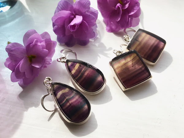 Fluorite Akoni Earrings  Square/Tear Drop - Jewels & Gems