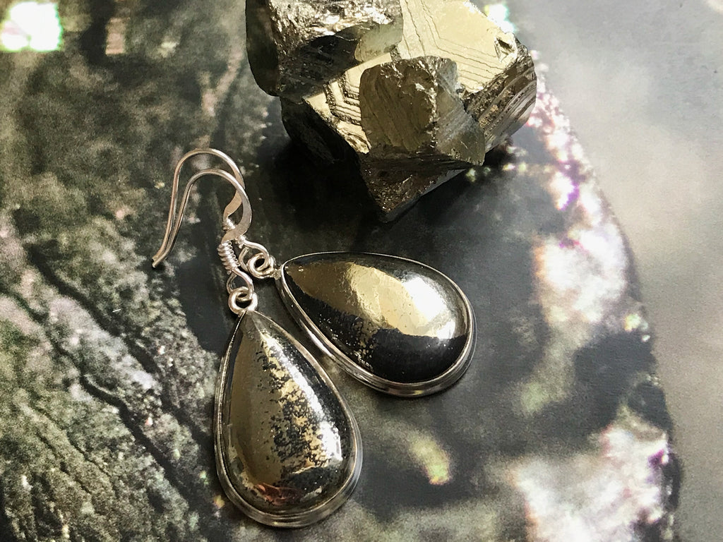 Pyrite with Magnetite Ari Earrings Tear Drop / Oval Large - Jewels & Gems