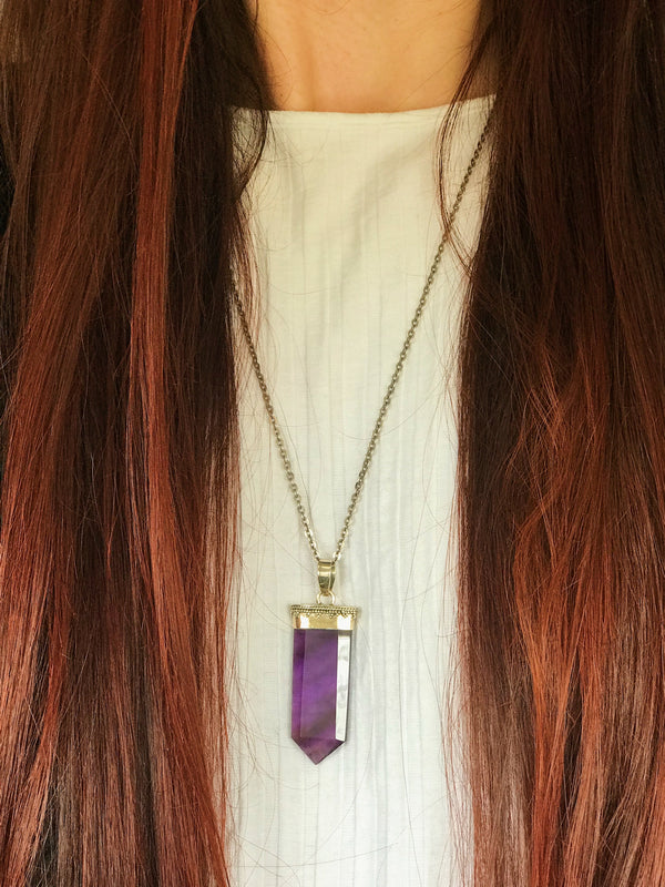sterling silver amethyst pendant point