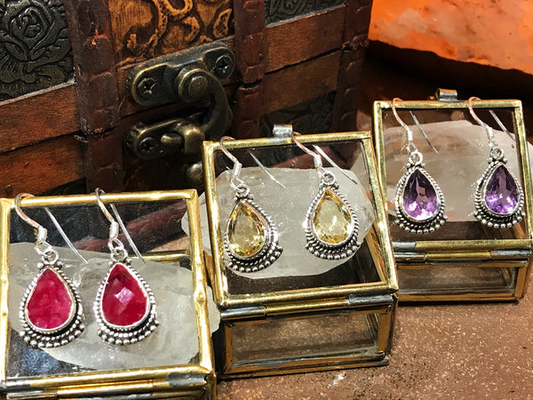 Lux Earrings in Amethyst, Semi-precious Ruby, Citrine - Jewels & Gems