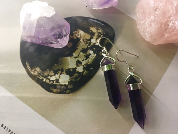 sterling silver 925 amethyst point earrings