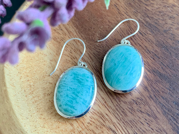 Amazonite Akoni Earrings - Oval - Jewels & Gems