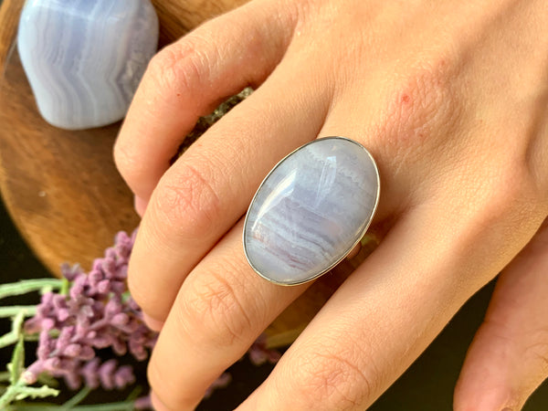 Blue Lace Agate Adjustable Ring - Long Oval - Jewels & Gems
