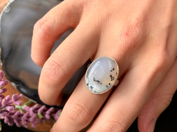 Dendritic Agate Adjustable Ring - Small Oval - Jewels & Gems