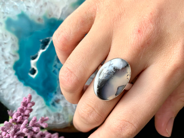 Dendritic Agate Adjustable Ring - Oval B - Jewels & Gems