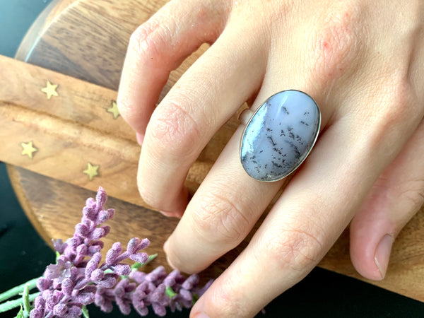 Dendritic Agate Adjustable Ring - Oval A - Jewels & Gems