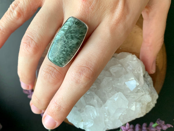 Seraphinite Adjustable Ring - Rectangle - Jewels & Gems