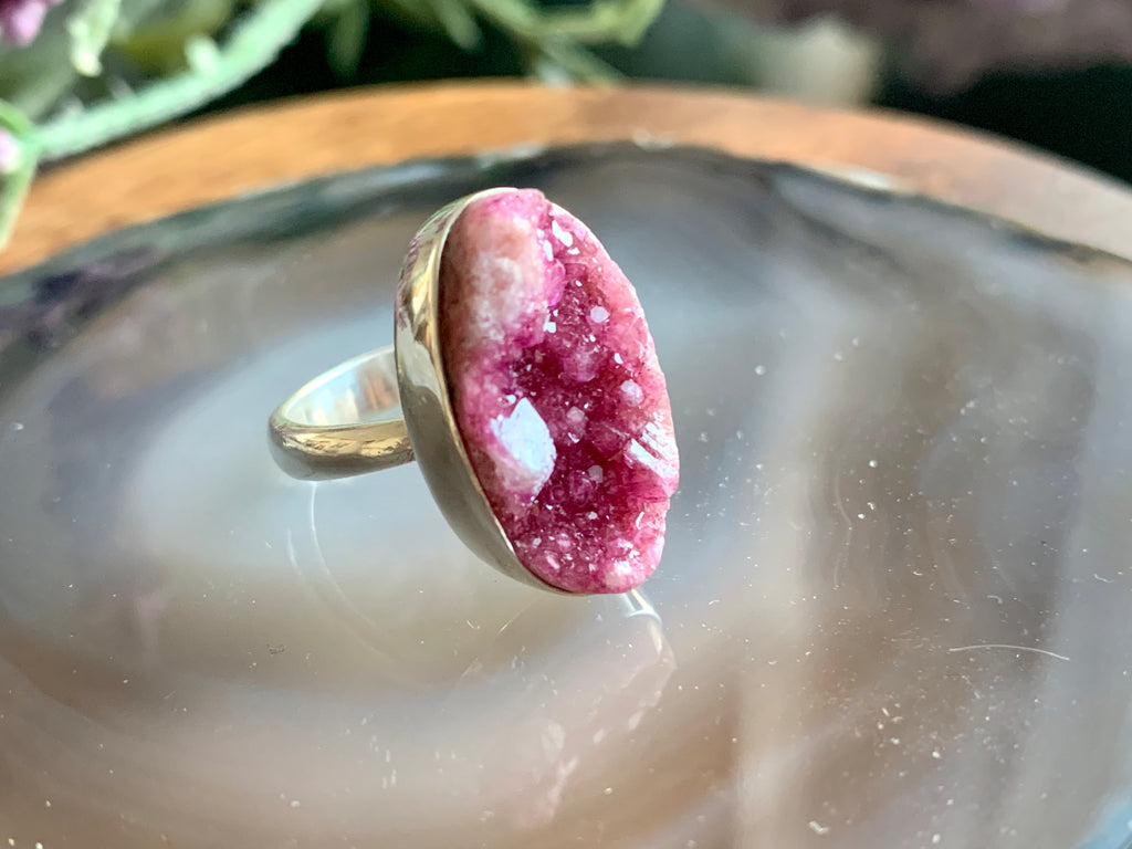 Cobalto Calcite Adjustable Ring - Long Oval - Jewels & Gems