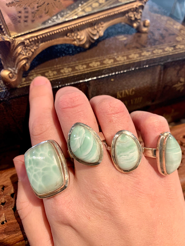 Green Aragonite Ari Rings (One of a kind) - Jewels & Gems