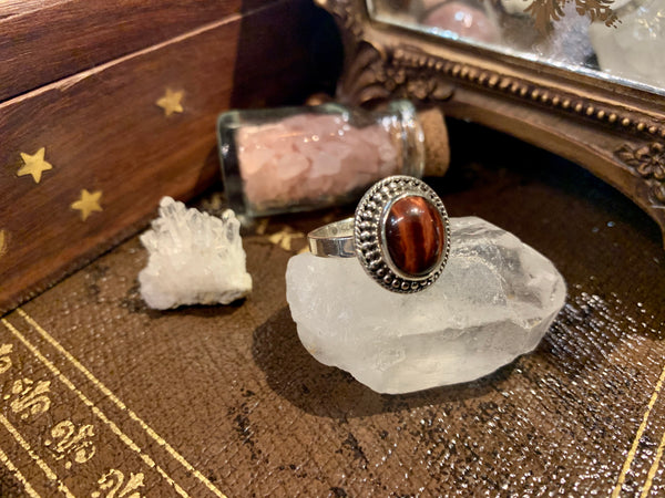Red Tiger's Eye Rhea Ring - Jewels & Gems