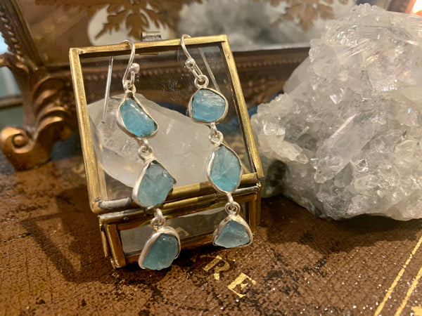 Raw Blue Apatite Akoni Earrings - Triple Drop - Jewels & Gems