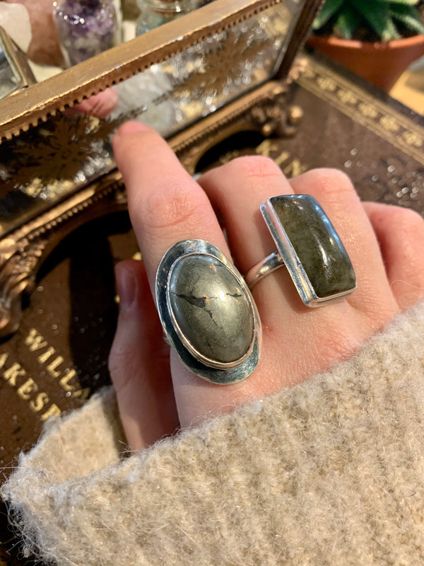 Raw Pyrite Large Medea Rings - Jewels & Gems
