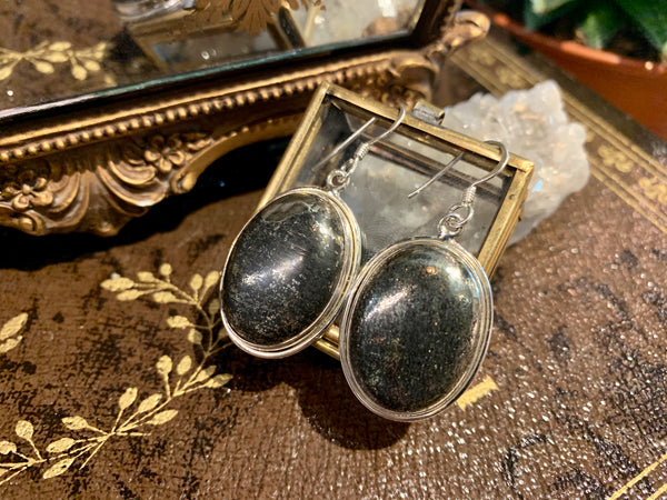 Pyrite with Magnetite Large Ari Earrings - Jewels & Gems