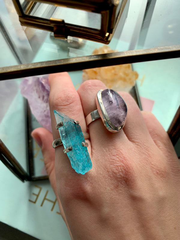Sky Blue Aura Quartz Saana Ring - Jewels & Gems