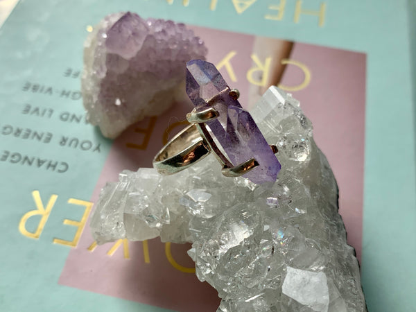 Medium Lilac Aura Quartz Saana Ring - Jewels & Gems