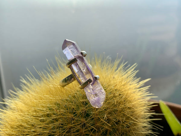 Large Lilac Aura Quartz Saana Ring - Jewels & Gems