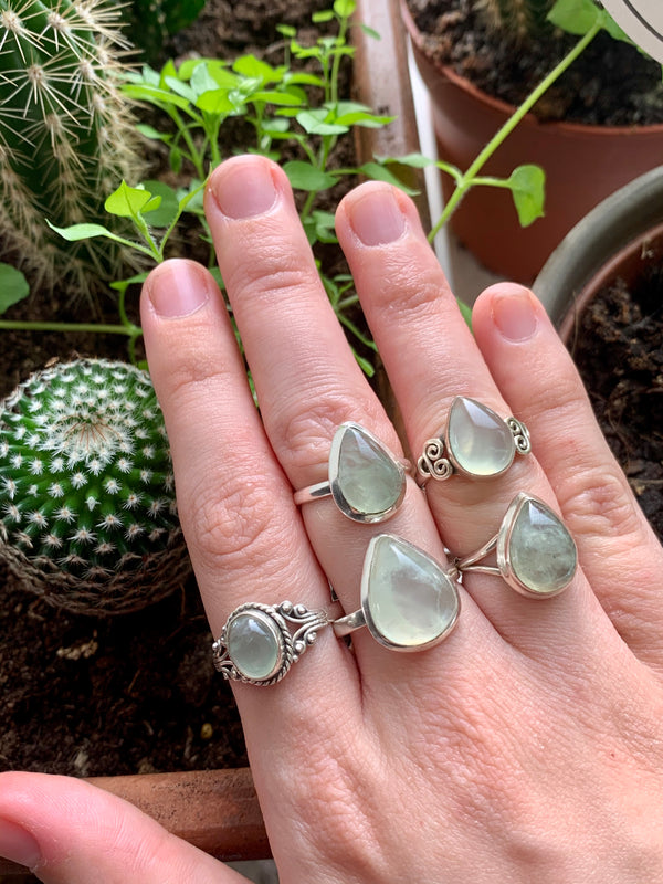 Prehnite Mixed Rings (One of a kind) - Jewels & Gems