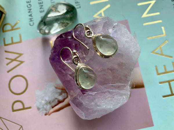 Prehnite Oval Ari Drop Earrings - Jewels & Gems