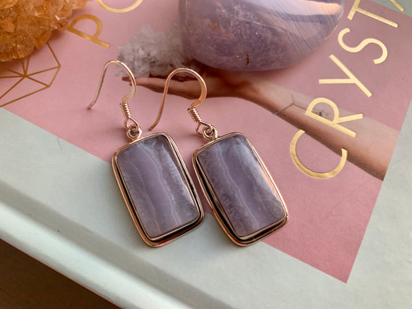 Blue Lace Agate Square Calix Earrings - Jewels & Gems