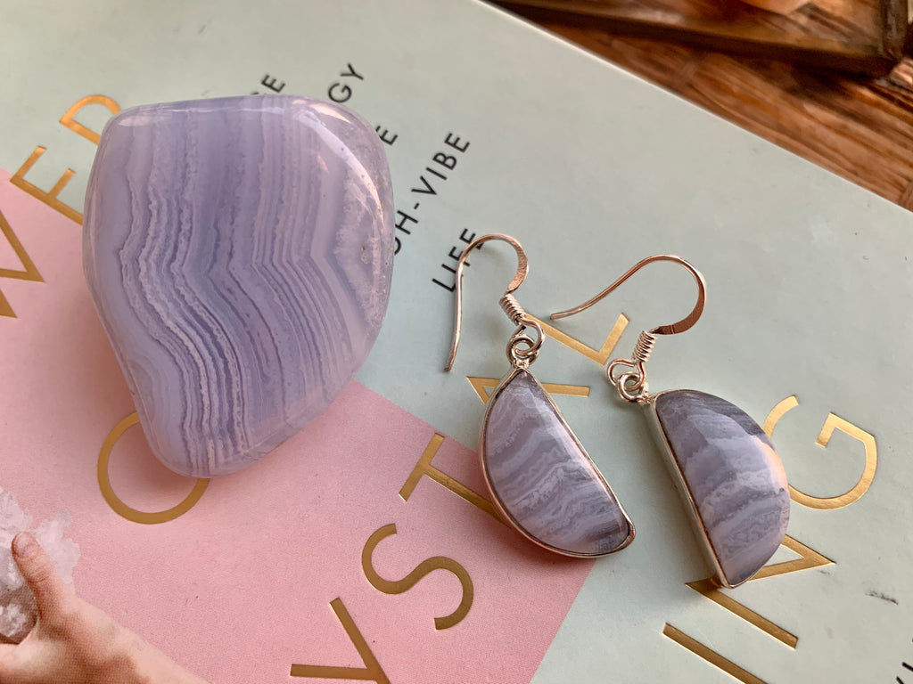 Blue Lace Agate Half Moon Akoni Earrings - Jewels & Gems