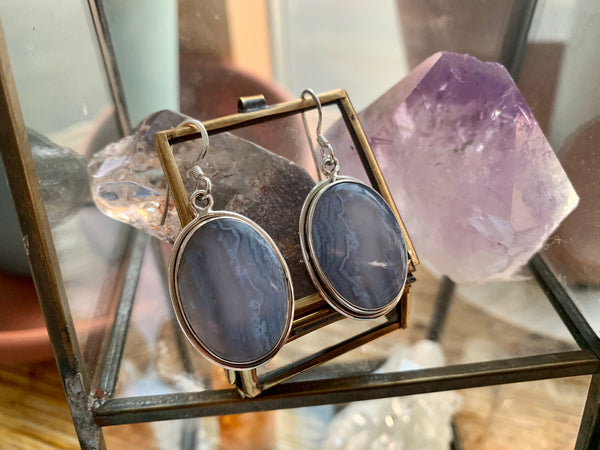 Blue Lace Agate Round Calix Earrings - Jewels & Gems