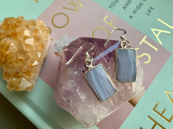 Blue Lace Agate Small Square Akoni Earrings - Jewels & Gems