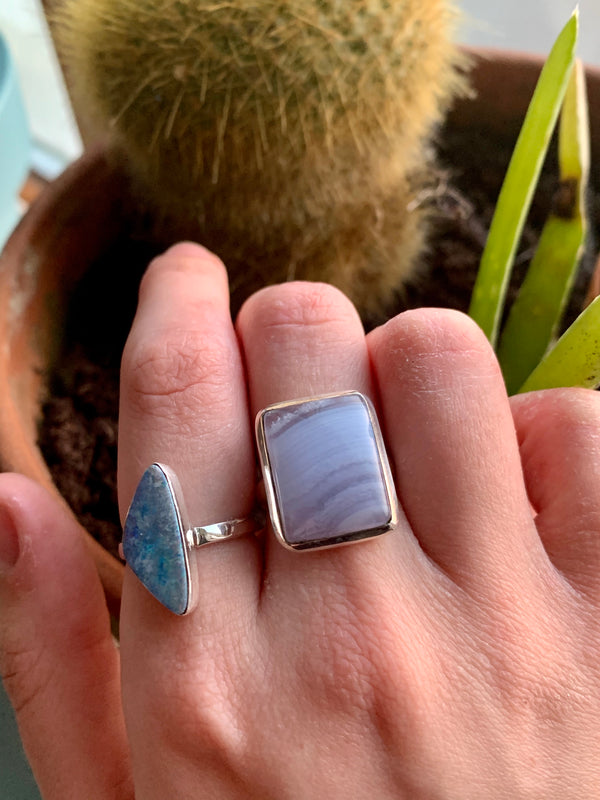 Blue Lace Agate Ariel Ring - Square - Jewels & Gems