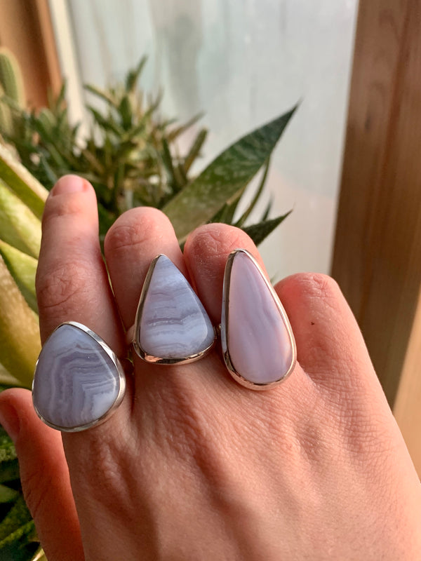 Blue Lace Agate Ariel Ring - Teardrop (US 7.5 & 8) - Jewels & Gems