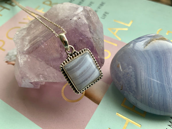Blue Lace Agate Gala Pendant - Square - Jewels & Gems