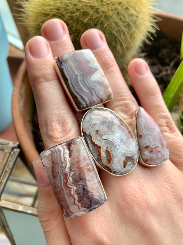 Crazy Lace Agate Mixed Ari Rings (One of a kind) - Jewels & Gems