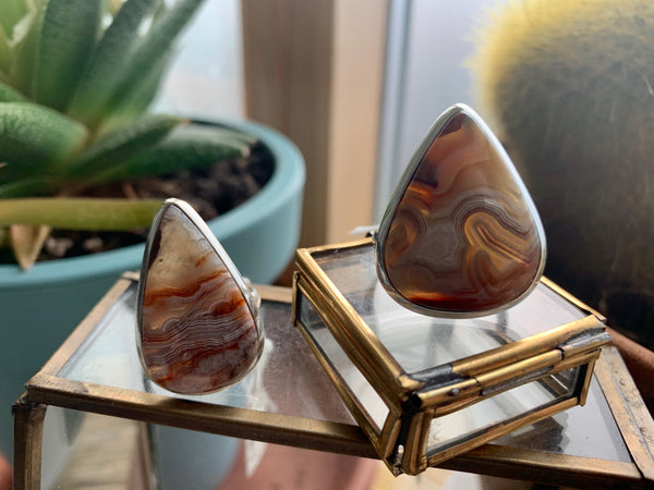 Crazy Lace Agate Drop Akoni Rings - Jewels & Gems