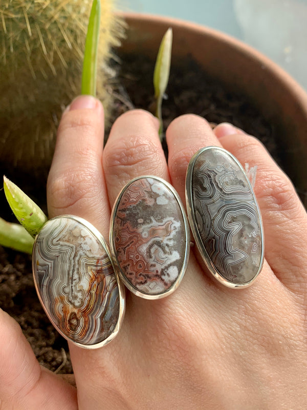 Crazy Lace Agate Large Akoni Rings - Jewels & Gems