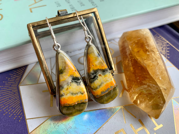 Bumblebee Jasper Drop Ari Earrings - Jewels & Gems